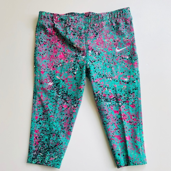 4d8779ea2e9bb Nike Bottoms | Girls Youth Cropped Leggings Teal Pink | Poshmark